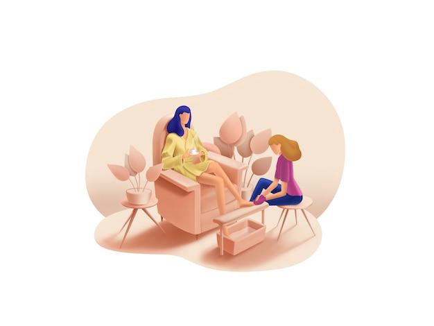 Serie belleza y spa: ilustración de obras maestras de pedicura
