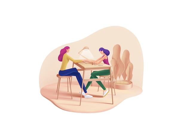 Serie belleza y spa: uñas. manicurista en el trabajo
