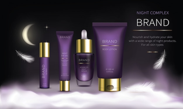Serie de cosmética nocturna para el cuidado facial de la piel.