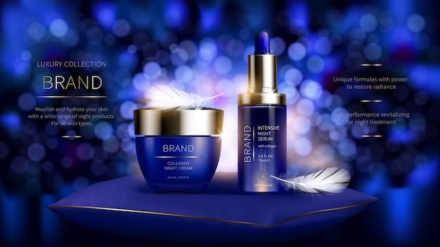 Serie cosmética nocturna para el cuidado de la piel del rostro.