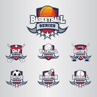 Serie deportiva. conjunto de logotipo moderno premium.