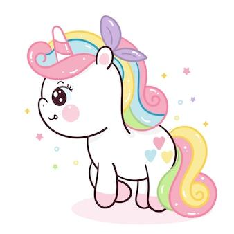 Serie de doodle femenino lindo de dibujos animados de unicornio