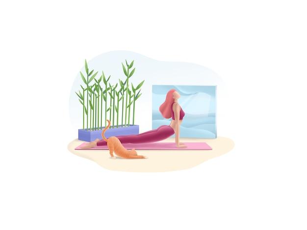 Serie de ejercicios: yoga en casa. mantén la calma y haz yoga.