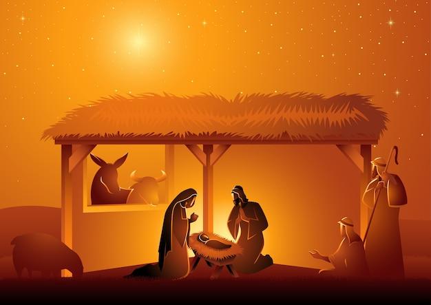 Serie de ilustraciones bíblicas, pesebre de la sagrada familia en establo. tema navideño