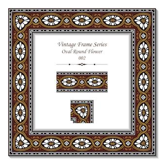 Serie de marcos vintage de flor redonda ovalada marrón retro
