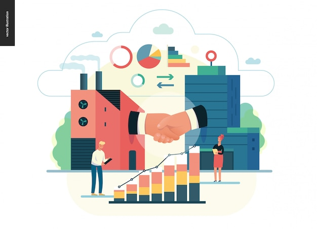 Serie de negocios - b2b. business to business, plantilla web