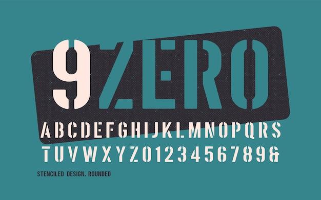 Serif redondeado decorativo de peso llamativo y estarcido.