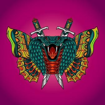 Serpiente cobra mariposa vector tatuaje