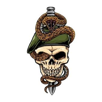 Serpiente en cráneo militar cruzado por una daga