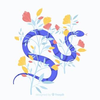 Serpiente dibujada a mano con flores
