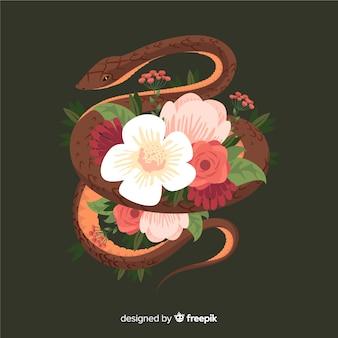 Serpiente dibujada a mano rodeada de flores