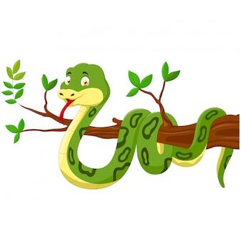 Serpiente de dibujos animados en el árbol