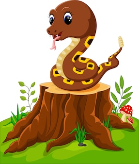 Serpiente divertida de dibujos animados en tocón de árbol