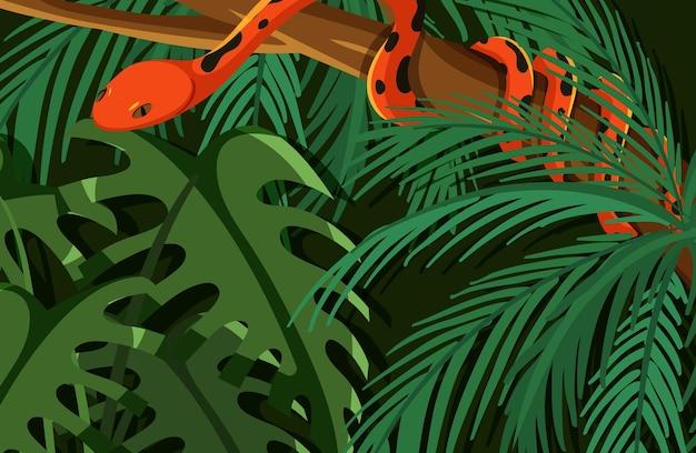 Serpiente escondida en la jungla