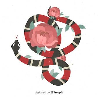 Serpiente con flores en 2d