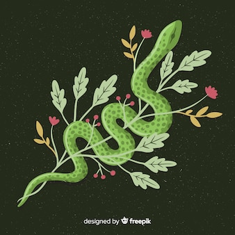 Serpiente con flores dibujadas a mano