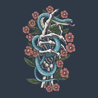 La serpiente está en los huesos de la mano entre las flores.