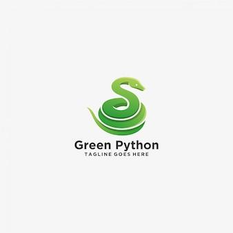 Serpiente pitón verde pose ilustración logotipo.