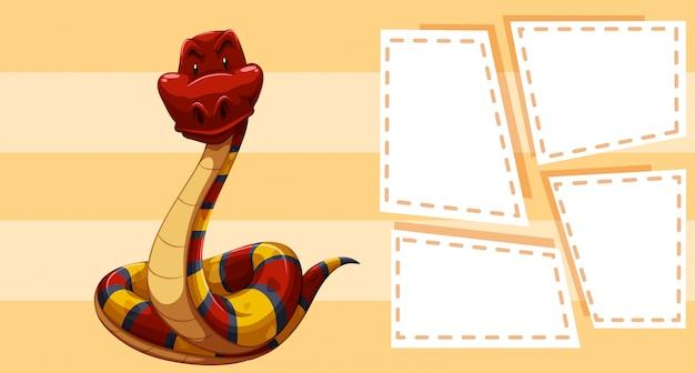 Una serpiente en plantilla de nota