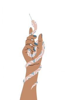 Una serpiente rizada en la mano de una mujer. concepto de una mano sosteniendo una serpiente. ilustración aislada sobre fondo blanco.