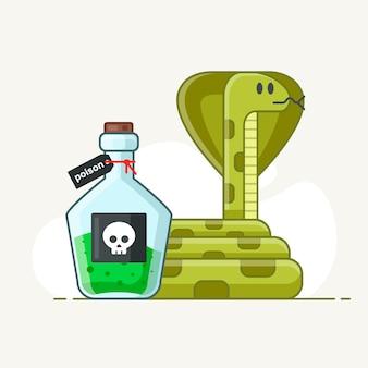 Serpiente venenosa sobre un fondo blanco