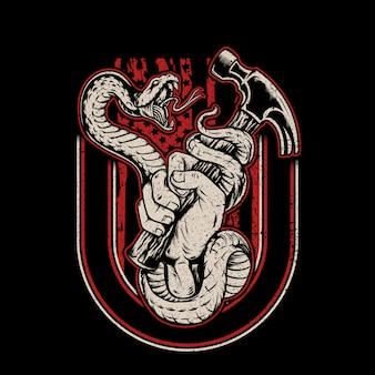 Serpiente vs hummer ilustración