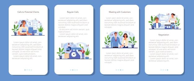 Servicio de agencia inmobiliaria banner de aplicación móvil conjunto compra de propiedad
