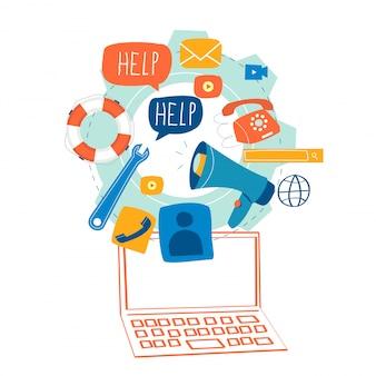 Servicio al cliente, asistencia al cliente, concepto de centro de llamadas