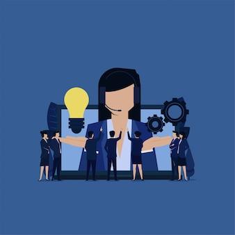 Servicio al cliente de negocios da idea y entorno para la resolución de problemas.