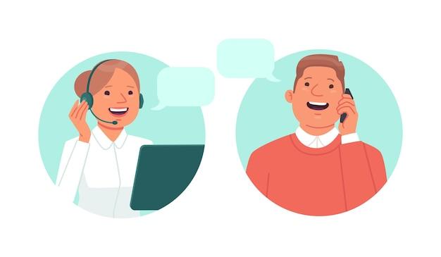 Servicio al cliente el operador de la línea directa del centro de llamadas habla por teléfono con el cliente.