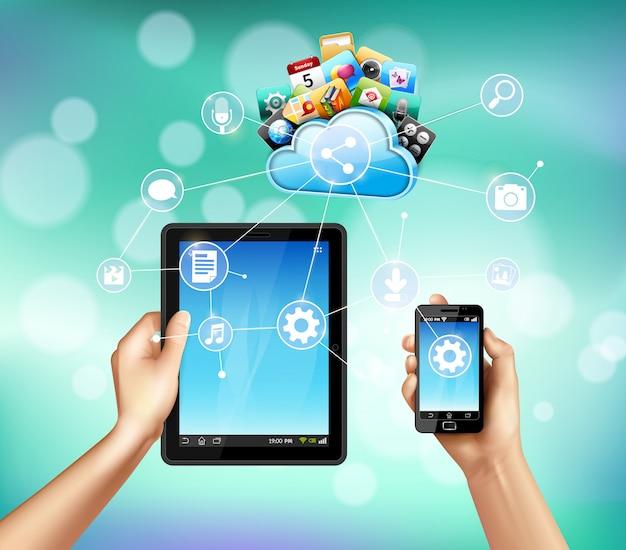 Servicio de almacenamiento de datos con tableta y teléfono inteligente.
