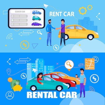 Servicio de alquiler de coches en línea a través de tablet banner