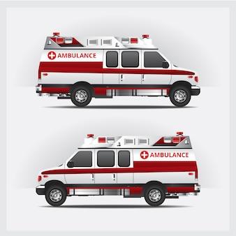 Servicio de ambulancia coche aislado ilustración