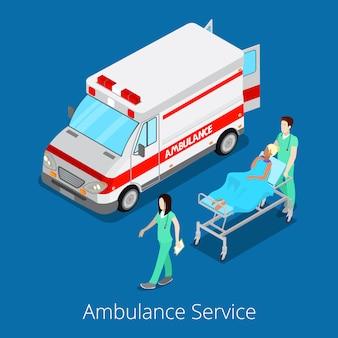Servicio de ambulancia isométrica con coche de emergencia, enfermera médico y paciente.