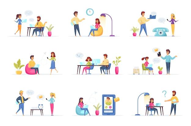 Servicio de apoyo colección personas personajes.