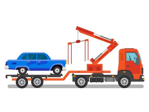 Servicio de asistencia en coche ilustración plana en color