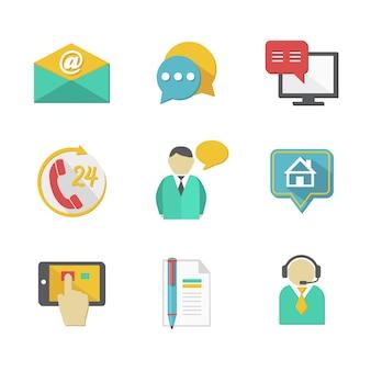 Servicio de atención al cliente contactos elementos de diseño
