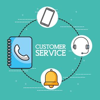 Servicio de atención al cliente de teléfono con auricular de libreta de direcciones
