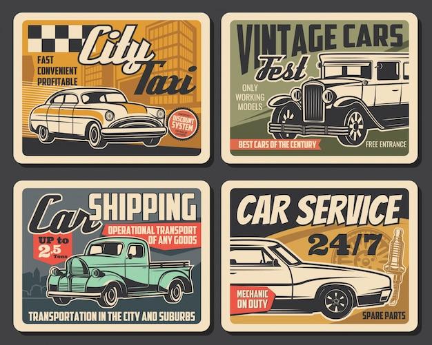 Servicio de auto, festival de autos antiguos, carteles de taxis urbanos