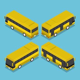Servicio de autobús de transporte público isométrico 3d plano