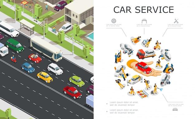Servicio de automóviles y composición de atascos con trabajadores que reparan y reparan automóviles y vehículos que se mueven en la carretera en estilo isométrico