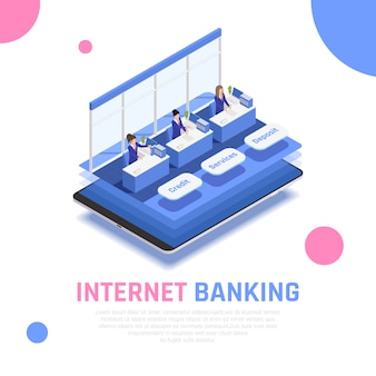 Servicio de banca en línea de internet composición simbólica isométrica con empleados detrás de los contadores de depósitos de crédito aplicación móvil