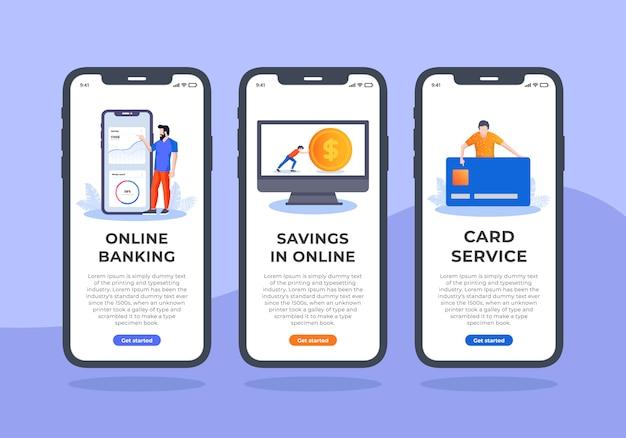 Servicio bancario onboarding pantalla móvil ui