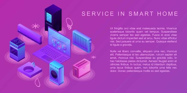 Servicio en banner de concepto de hogar inteligente, estilo isométrico