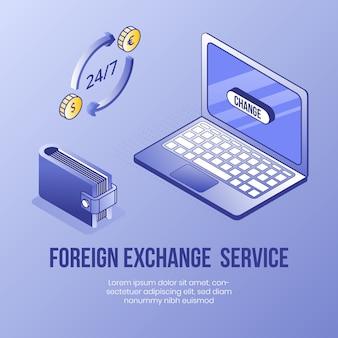 Servicio de cambio de divisas. concepto de diseño isométrico digital.