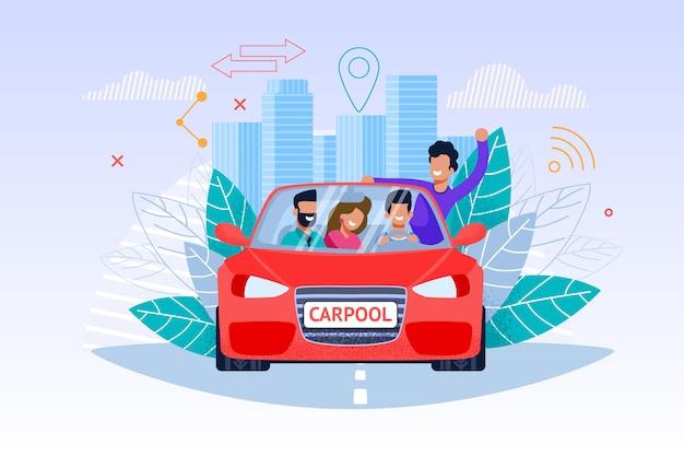 Servicio de carpool, viaje de fin de semana y carácter de hombre y mujer joven en auto rojo