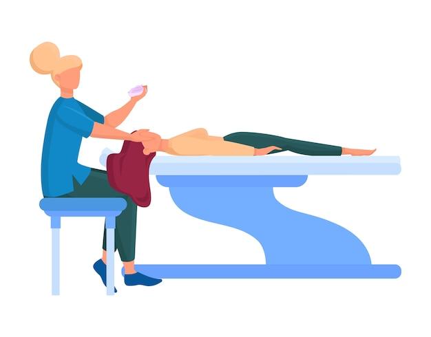 Servicio de centro de belleza. visitantes del salón de belleza que tienen un procedimiento diferente. personaje femenino en salón. tratamiento de la piel y procedimiento de esteticista. ilustración