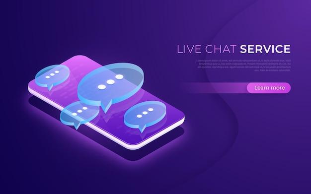 Servicio de chat en vivo, comunicación en redes sociales, redes, chat, concepto isométrico de mensajería.