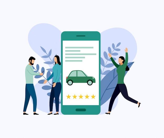 Servicio de coche compartido, transporte de ciudad móvil, negocios