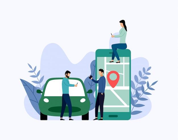 Servicio de coche compartido, transporte móvil de la ciudad, ilustración del concepto de negocio